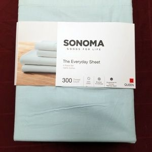 Sonoma Queen Sheet Set Solid Aqua 4 Piece NEW